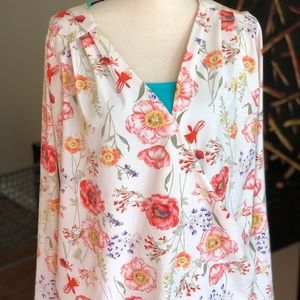 ModCloth flowery red poppy faux wrap top xl blouse